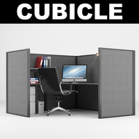 cubicle realistic computer 3d model