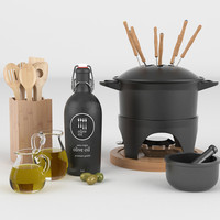 3d model of cooking utensils mortar fondue