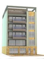 3d modern 6 story building