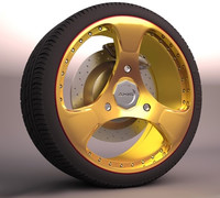 gold car wheel 3d max