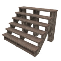 wood stairs low poly 3 wood