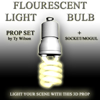 flourescent light bulb 3d model