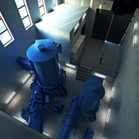 modelled hydroelectric turbines 3d x
