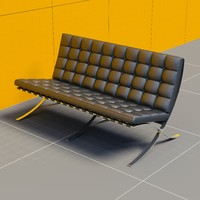 3d couch mies van der rohe model