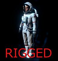 3d ik rigged astronaut