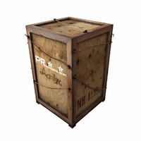 free heavy wooden box 1 3d model