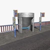3d c4d bus stop