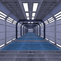 3d sci-fi corridor scene model
