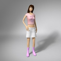 3ds max character cartoon woman rigged