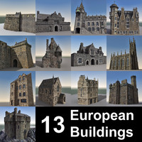 13 european buildings 3d model
