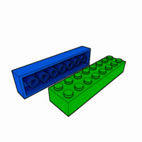3d piece lego brick 2x8 model