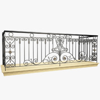 wrought iron balcony 3d max