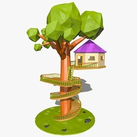 cartoon tree house 3d model