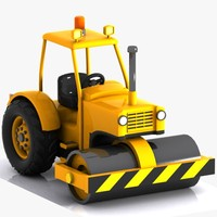 3d cartoon road roller
