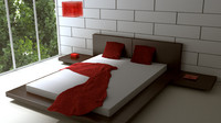 modern room bed 3d obj