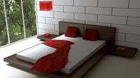 modern room bed 3d model