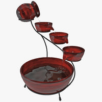 cascade solar water fountain 3d obj