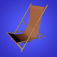 beach deck chair 3d c4d