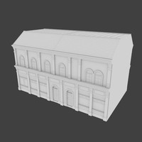 3d building facades shops model