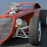 3d hotrod concept car hot rod