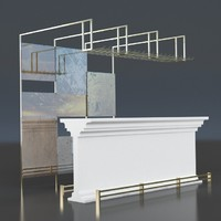 free modern interior bar design 3d model