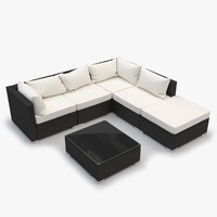 Outdoor Sectional Rattan Furniture Set - corner, armless, ottoman, coffee table