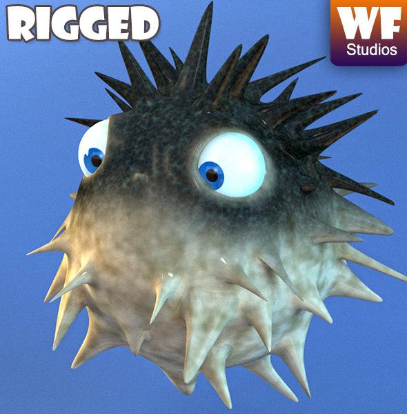 Maya cartoon puffer fish rig for Longest living fish