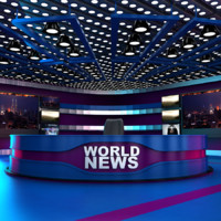 tv news room - 3d model