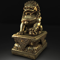 obj gold lion statue
