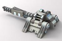 maya sci-fi laser cannon blue