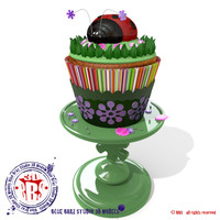 lady bug cupcakes cake 3d model