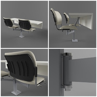 3d college chairs table set model