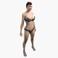 3ds max hair dress bikini