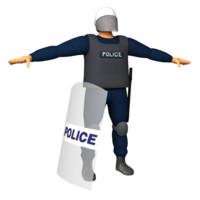 police character helmet 3d obj