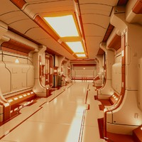 3ds max starship corridor interior ship
