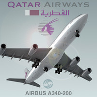 3d model airbus a340-200 qatar airways