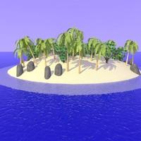 realistic desert island 3d c4d