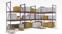 industrial racks cardboard boxes 3d model