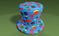 hat clown multi-color 3d 3ds