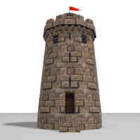 3d medieval castle tower model