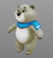 3d model mascot winter olympics bear