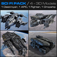 sci fi pack scifi fighter 3d model