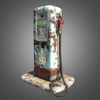 3d model old retro gas pump
