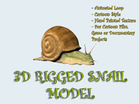 3d model rigged snail cartoon animation