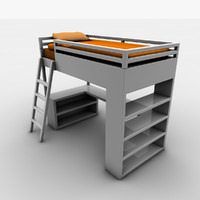 3d model childrens sleeper bed desk