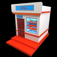3d stall shop model