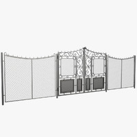 3d wrought iron gate fence model