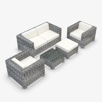 Garden Furniture - Synthetic Rattan - Loveseat, armchair, ottoman, coffee table
