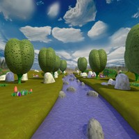 3d cartoon stream rocks mushrooms