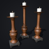 3d model wooden candles